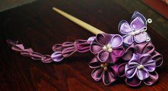 Purple Kanzashi. Butterfly. by hanatsukuri.deviantart.com