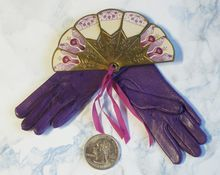 French Fashion Doll FABULOUS Leather Gloves and Matching Fan!