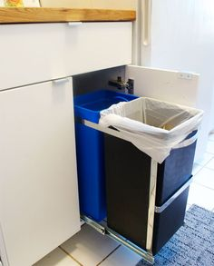 AKURUM Base Cabinets From Ikea Modified With Pull Out Garbage And  Re Cycling,