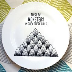 There Be Monsters Hand Drawn Plate by InkBandit on Etsy