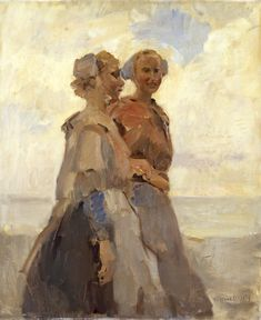 Two girls in traditionel clothing from Scheveningen, The Netherlands. by Isaac Israëls. about 1920