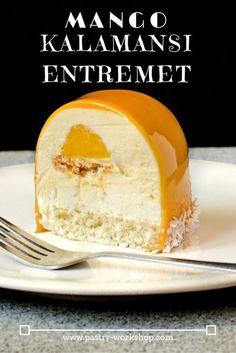 Mango Kalamansi Entremet www.pastry-worksh… Mango Kalamansi Entremet www. Fancy Desserts, Gourmet Desserts, Plated Desserts, Entremet Recipe, Bolo Original, Cake Recipes, Dessert Recipes, Cupcakes, Sweet Tooth