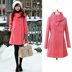 Pink coat with black leggings with white hat and cute bag