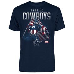 NFL Dallas Cowboys Marvel Captain Patriot Slub T-Shirt - Navy