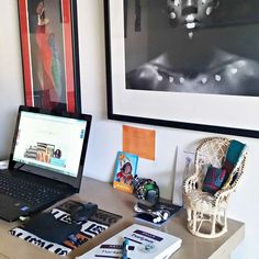 Home office styling with African art. Black female entrepreneur, Anitra Terrell of Reflektion Design interview with Design Sponge. #blackentrepreneurs #designsponge #designbusiness #atlanta #africanprintdecor #ankaradecor #africanprintpillows African Interior, Black Entrepreneurs, Fabric Decor, Business Design, African Art, Home Office, Printing On Fabric, Decorative Walls, Diy Projects