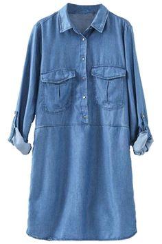 denim+shirt+dress   Home > Clothing > Dresses > Charming Long-Sleeves Denim Shirt Dress
