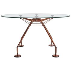 Dining table, model Nomos, design by Sir Norman Foster & Partner for Tecno, Italy. Designed in Filigree frame made of steel tube and aluminum, which has been renewed and bathed in copper. Clear Glass Plates, Classical Architecture, Landscape Architecture, Foster Partners, Old Abandoned Houses, Norman Foster, Drafting Desk, The Fosters, Dining Table