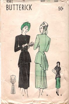 Vintage 1940's Butterick 4361 Two Piece Suit with by Recycledelic1