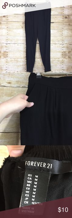 Black jogger pants Super soft black jogger pants with pockets. A staple piece for your wardrobe! Length - 36 inch Waist - 28-32 inch (stretches) Forever 21 Pants Track Pants & Joggers