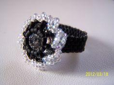 Swarovski Rivoli & Seed Bead Ring by lindasoriginaljewels on Etsy, $18.00