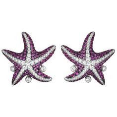 Maggioro White Gold Pink Sapphire Starfish Earrings (7,315 CAD) ❤ liked on Polyvore featuring jewelry, earrings, white, white gold jewelry, pink sapphire earrings, 18 karat gold earrings, white gold earrings and 18k white gold jewelry