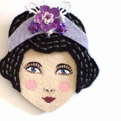 Embroidered felt brooch - Dixie, Charleston girl, black, lavender, woman face