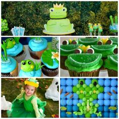 20 Fabulous Frog Party Ideas for little kid birthday parties Frog Birthday Party, First Birthday Parties, Birthday Party Themes, Boy Birthday, First Birthdays, Birthday Ideas, Frog Baby Showers, Princesa Tiana, Frog Theme