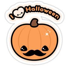 I love Halloween stickers featuring a super cute mustache pumpkin with kawaii heart skull.