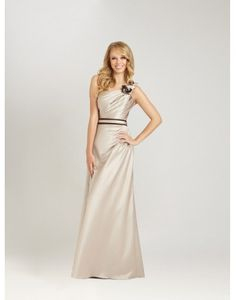 Elegant One Shoulder Ruching Hand-made Flower Column Bridesmaid Dress Online