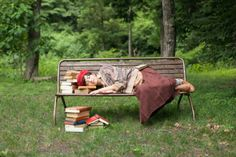 book pillow bench relax funny sort of meditation