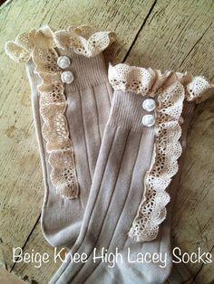 Beige Knee High Lacey Socks 'Maile' Girls/Tweens by miassockdrawer on Etsy, $21.00