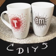 "Initial, Name, Monogram Mug... Decorate cheap white mug with Sharpie and stickers. Use ""Oil-Based"" Sharpie Markers ONLY, found in the craft section. Let mug cure for one day, hand wash."