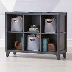 Charcoal 6-Cube Bookcase + Reviews | Crate and Barrel Walnut Bookcase, Bookshelves Kids, Bookcase Shelves, Bookcases, Cube Shelves, Custom Furniture, Kids Furniture, Crate Furniture, Metal Nightstand
