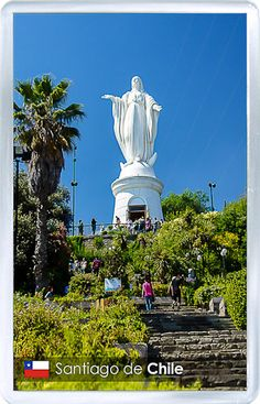 $3.29 - Acrylic Fridge Magnet: Chile. Santiago. View at Virgin Mary statue on Cerro San Cristobal