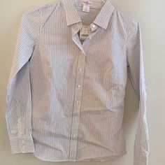 Womens J.Crew blouse White and purple thin striped button- down shirt J. Crew Tops Blouses