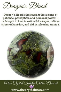 Dragon's Blood ~ Patience-Perception-Personal Power-Intestinal Blockages-Stress-Trauma Shop new crystal spheres online now at The Crystal Man! Crystal Healing Stones, Stones And Crystals, Chakra Crystals, Crystal Sphere, Gem Stones, Quartz Crystal, Crystal Guide, Crystal Magic, Minerals And Gemstones