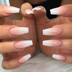 Young Nails Inc on Ombres are way prettier than French nails. French Acrylic Nails, Summer Acrylic Nails, Best Acrylic Nails, French Fade Nails, Summer Nails, Ombre French Nails, Natural Acrylic Nails, Acrylic Nail Designs Coffin, Pretty Nails For Summer