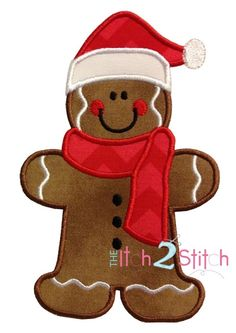 Gingerbread Santa Applique Design In Hoop Sizes by Christmas Applique, Christmas Sewing, Christmas Embroidery, Felt Christmas, Christmas Projects, Holiday Crafts, Christmas Ornaments, Xmas, Applique Templates