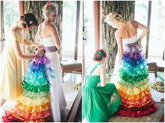 Rainbow Wedding Dress I love it. Rainbow Bridesmaid Dresses, Rainbow Wedding Dress, Colored Wedding Dresses, Wedding Bridesmaid Dresses, Perfect Wedding Dress, Wedding Attire, Wedding Colors, Wedding Outfits, Dress Wedding