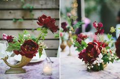 Intimate New York City Wedding, Gold Centerpieces with Peonies and Burgundy Flowers