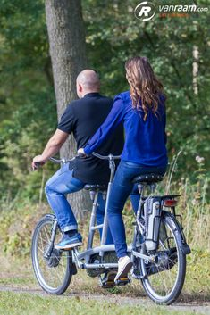 In this article more info about cycling on a tandem and you get to know the Van Raam tandems. Partner Reading, Tandem Bicycle, Cargo Bike, Custom Bikes, Biking, Bicycles, Cycling, Van, Frame