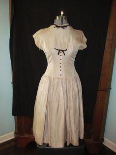 Vtg Twixteen Taffeta Dress 40's? Rockabilly Tan Crinoline Full Skirt Restore by ThenForNow on Etsy