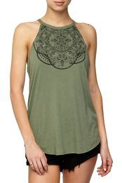 Sleeveless tank top with ringer detailing and dual scoop hem. Model wears size S. Composition: polyester Cotton and Viscose