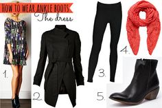 How to wear ankle boots with a dress