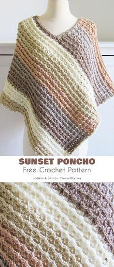 Sunset Poncho Free Crochet Pattern Ponchos are a great accessory to snazz up any. Sunset Poncho Free Crochet Pattern Ponchos are a great accessory to snazz up any outfit. While they work well with casua. Tunisian Crochet, Crochet Shawl, Easy Crochet, Crochet Stitches, Crochet Baby, Knit Crochet, Poncho Knitting Patterns, Scarf Patterns, Tricot Crochet