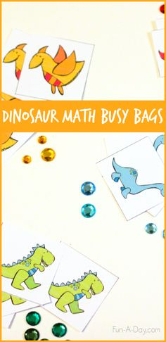 Busy Bag Ideas for a dinosaur theme, or just for those dino-lovin' kiddos!
