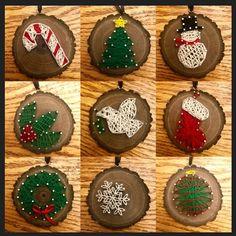 Nail string art ornaments I made - Veronica DIY Christmas Wood, Diy Christmas Ornaments, Kids Christmas, Holiday Crafts, String Wall Art, Nail String Art, String Art Tutorials, String Art Patterns, Hilograma Ideas