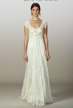 Liancarlo - Spring 2013 - Style 5845 Lace Sheath Wedding Dress with Cap-Sleeves and an Embroidered Bodice |