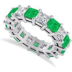 Allurez Princess Cut Diamond & Emerald Eternity Wedding Band 14k White... ($7,640) ❤ liked on Polyvore featuring jewelry, rings, wedding rings, princess cut ring, emerald ring, princess cut diamond rings and diamond rings