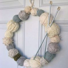 Yarn ball door wreath