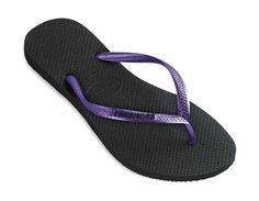 Havaianas Slim Logo Pop-Up: Black/Purple