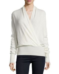 I prefer the grey. Faux-Wrap Cashmere Sweater, Women\'s by Neiman Marcus Cashmere Collection at Neiman Marcus.