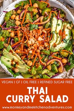 Calling all Thai curry lovers! This healthy, oh-so-delicious oil free Thai Curry Salad is fast, easy, and one of the quickest way to Thai curry heaven. Lunch Recipes, Whole Food Recipes, Vegan Recipes, Dinner Recipes, Healthy Salads, Healthy Eating, Healthy Breakfasts, Clean Eating, Thai Curry