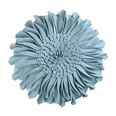 JW Handmade 3D Sun Flowers Accent Pillows Round Cushions for Home Sofa Car Office Chair Bed Decoration Canvas Sky Blue 13 Inch  33 CM -- More info could be found at the image url.-It is an affiliate link to Amazon. #DecorativePillowsInsertsCovers