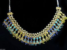 FREE PEOPLE INDIA ETHNIC TURQUOISE GREEN GOLD TONE BIB NECKLACE BRAIDED CORD #FREEPEOPLE