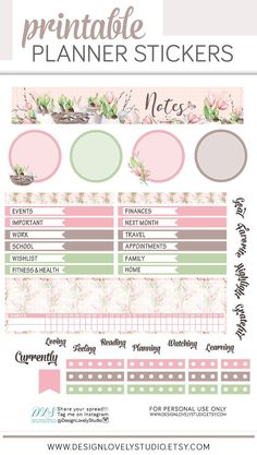 Erin Condren Planner Stickers Notes Page April #plannerstickers #printable #downloadable #spring