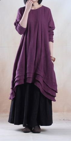 Violet purple long linen dress unique plus size maxi dressThis dress is made of cotton linen fabric, soft and breathy, suitable for summer, so loose dresses to make you comfortable all the time.Measurement: One Size: Shoulder / Ethnic Fashion, Boho Fashion, Womens Fashion, Fall Fashion Trends, Autumn Fashion, Plus Size Maxi Dresses, Linen Dresses, Unique Dresses, Pretty Outfits