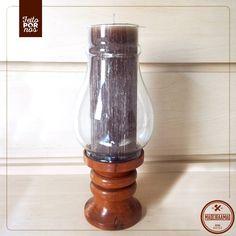 Castiçal rústico, charmoso e com um toque de antiguidade <3 Com madeira de reaproveitamento e vidro!