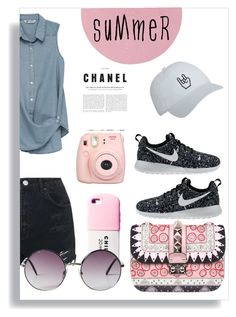 """""""Summer !"""" by rui-rsk ❤ liked on Polyvore featuring Bobeau, Topshop, Colonial Mills, Valentino, Monki, NIKE, Summer, outfit, casualoutfit and summerstyle"""