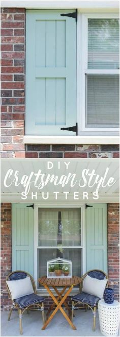 DIY Craftsman Style Outdoor Shutters How to build Craftsman style shutters using pine boards and hinges to add an updated and inexpensive look to a home's exterior. The post DIY Craftsman Style Outdoor Shutters appeared first on Outdoor Diy. House Colors, Shutters Exterior, New Homes, Diy Shutters, Outdoor Shutters, Craftsman House, Windows Exterior, Farmhouse Style, House Exterior